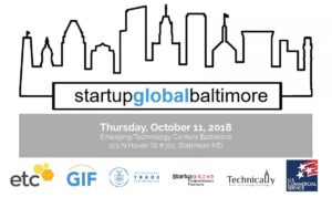Startup Global Baltimore. Thursday October 11 2018